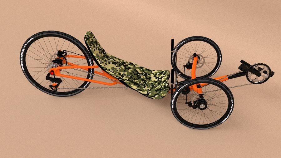 recumbent bicycle royalty-free 3d model - Preview no. 7