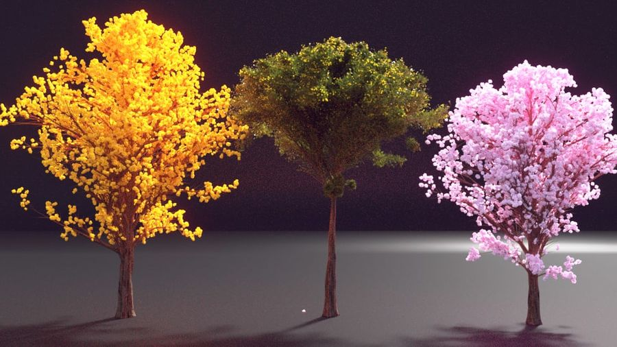 Colorful trees royalty-free 3d model - Preview no. 1