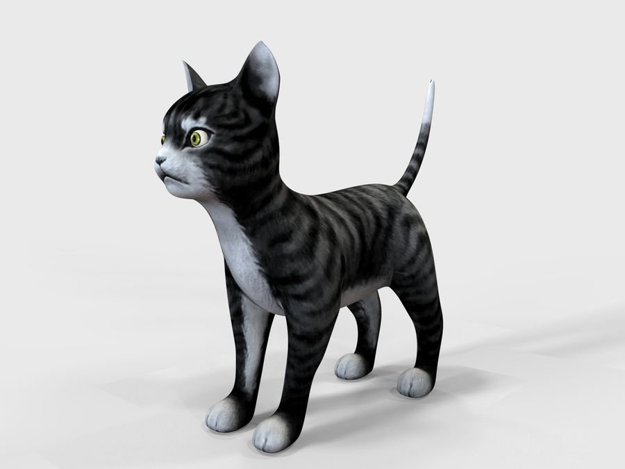 игра кошка готова низкополигональная royalty-free 3d model - Preview no. 4
