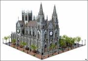 Cathédrale gothique V3 3d model
