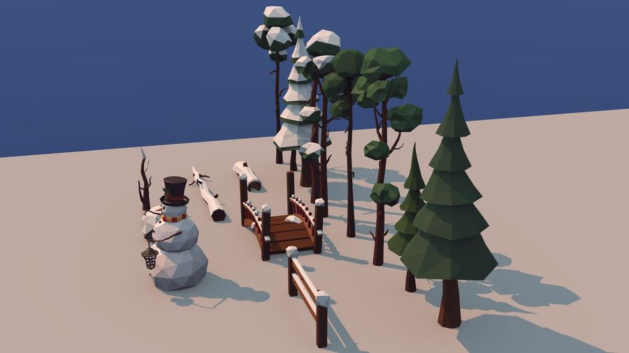 winter trees royalty-free 3d model - Preview no. 6