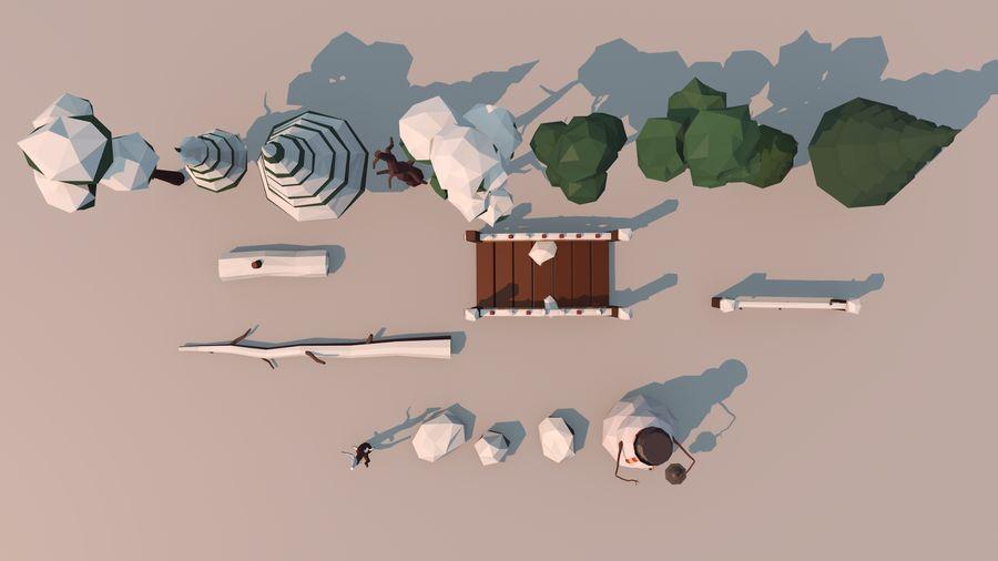 alberi d'inverno royalty-free 3d model - Preview no. 5