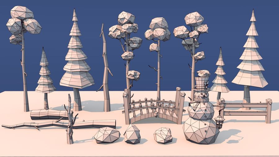winter trees royalty-free 3d model - Preview no. 7