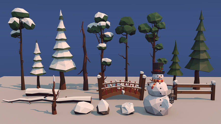 winter trees royalty-free 3d model - Preview no. 1