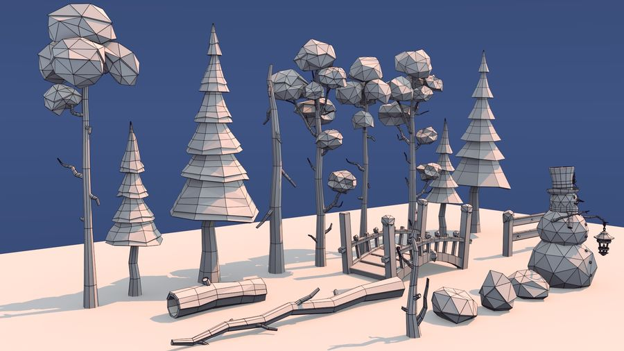 winter trees royalty-free 3d model - Preview no. 9