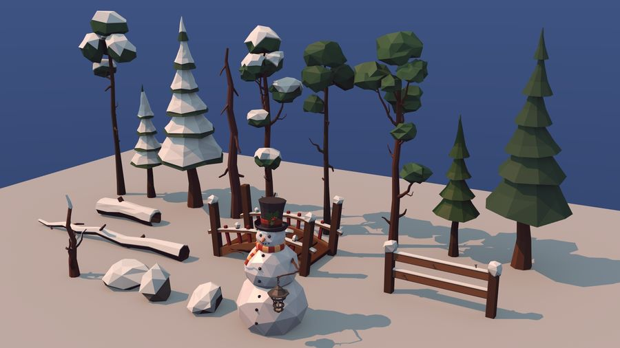 winter trees royalty-free 3d model - Preview no. 4