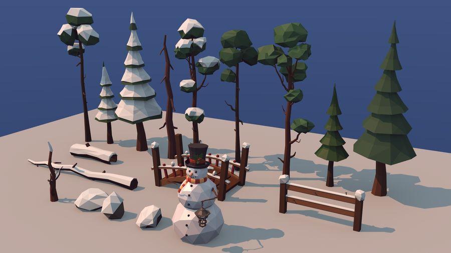 alberi d'inverno royalty-free 3d model - Preview no. 4