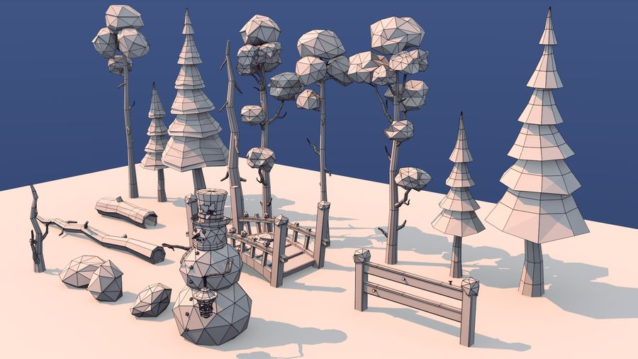 winter trees royalty-free 3d model - Preview no. 8