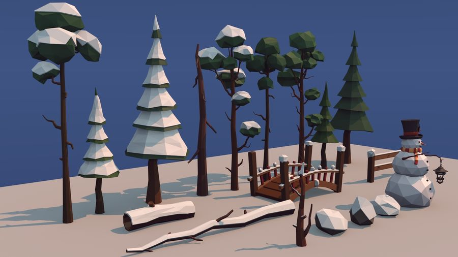 winter trees royalty-free 3d model - Preview no. 2