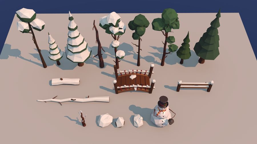winter trees royalty-free 3d model - Preview no. 3