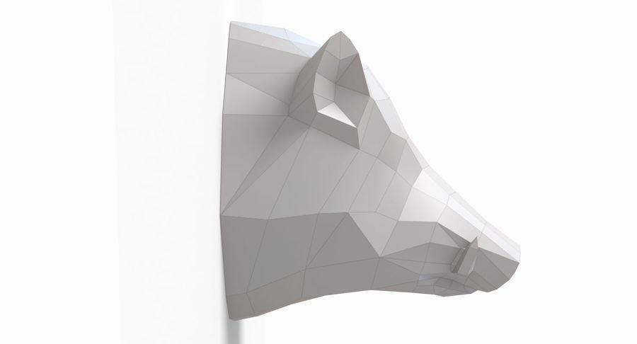 Boar Head Papercraft royalty-free 3d model - Preview no. 3