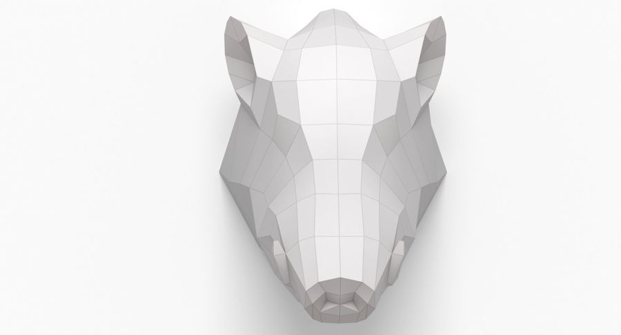 Boar Head Papercraft royalty-free 3d model - Preview no. 2