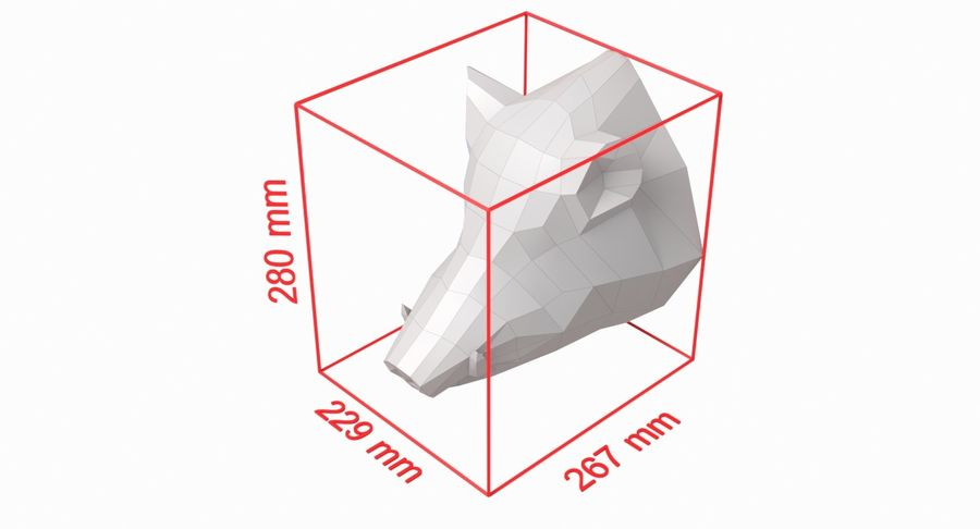 Boar Head Papercraft royalty-free 3d model - Preview no. 7