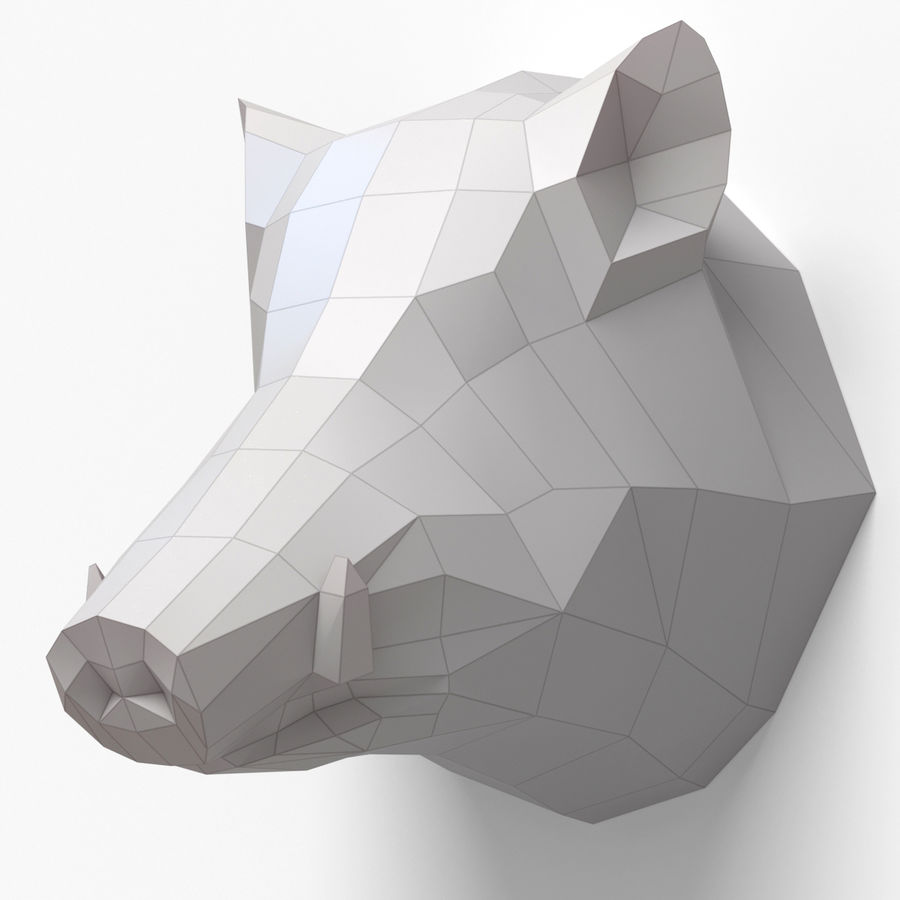 Boar Head Papercraft royalty-free 3d model - Preview no. 1