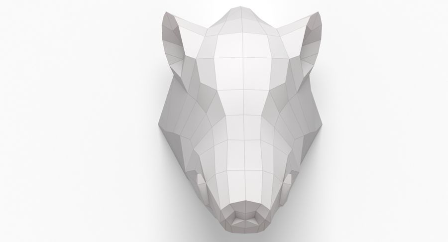 Tête de sanglier en papier royalty-free 3d model - Preview no. 2