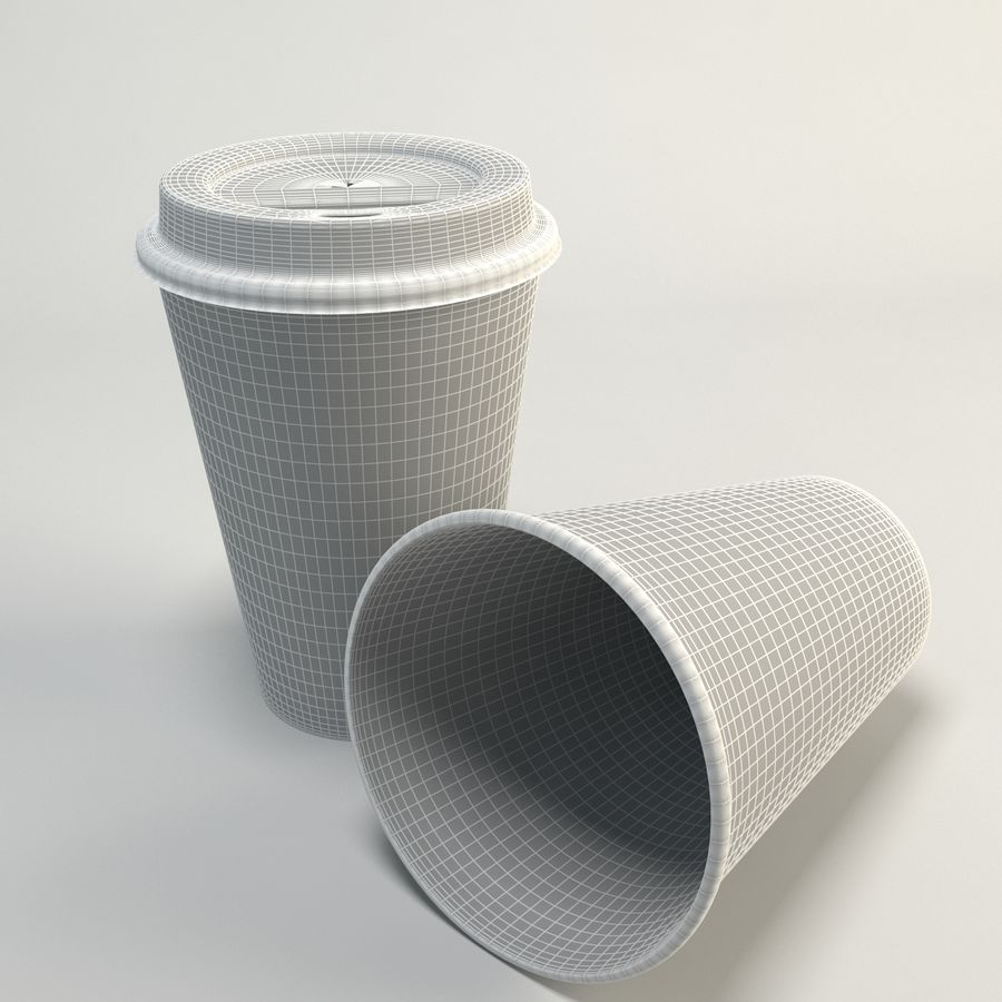 Kaffekopp Tomma Takeout royalty-free 3d model - Preview no. 2