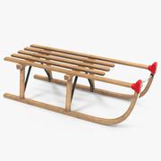 Traîneau en bois 3d model
