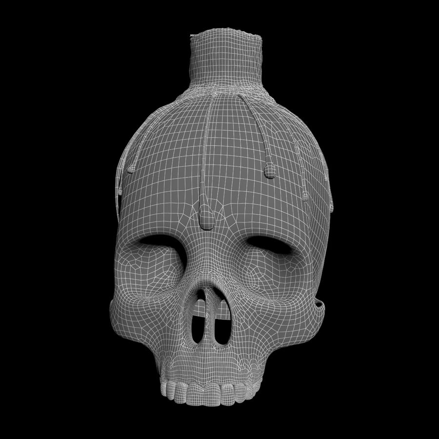 Skull Candle Holder royalty-free 3d model - Preview no. 7