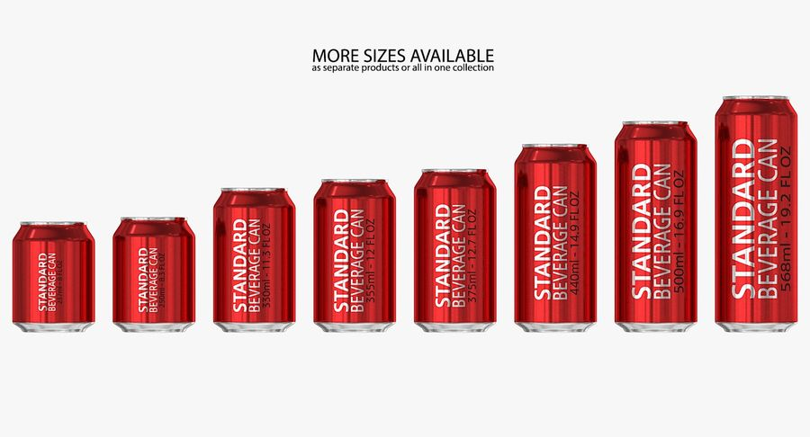 500ml 16.9oz Standard Beverage Can royalty-free 3d model - Preview no. 11