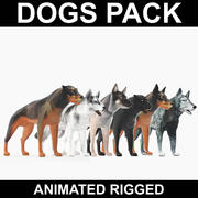 Dogs Pack (Animated Rigged) 3d model