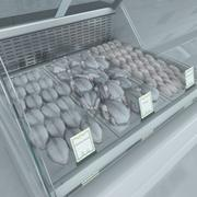 Refrigerated Showcase with Chiken 3d model