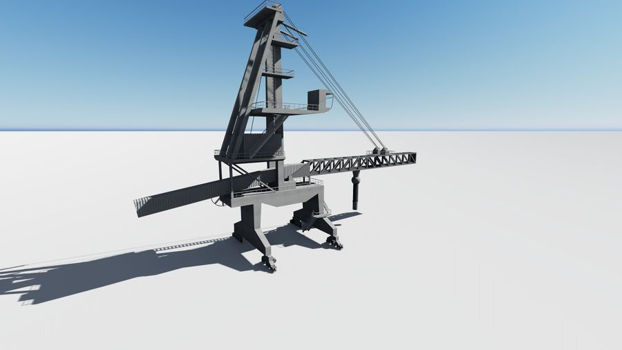 Port crane_Sploader royalty-free 3d model - Preview no. 4
