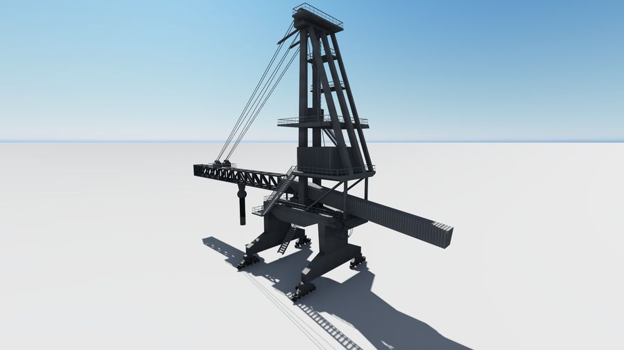 Port crane_Sploader royalty-free 3d model - Preview no. 3