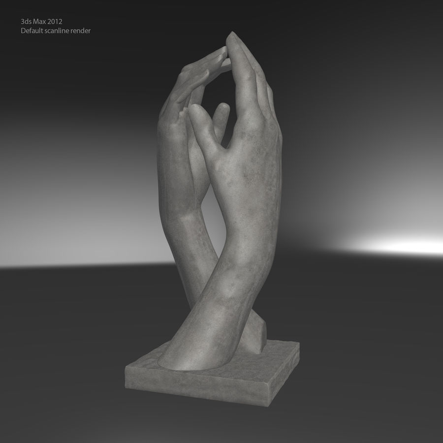 Auguste Rodin Hands Sculpture royalty-free 3d model - Preview no. 12