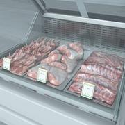Refrigerated Showcase with meat 1 3d model