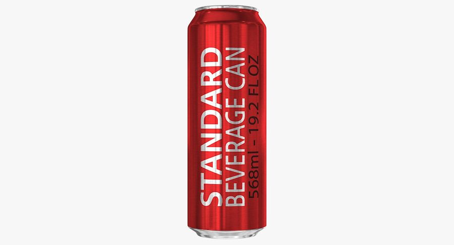 568ml 19.2oz Standard Beverage Can royalty-free 3d model - Preview no. 4