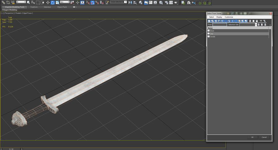 Средневековый меч викингов royalty-free 3d model - Preview no. 14