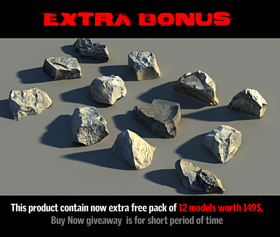 Rock mountains  Ground 16K royalty-free 3d model - Preview no. 2