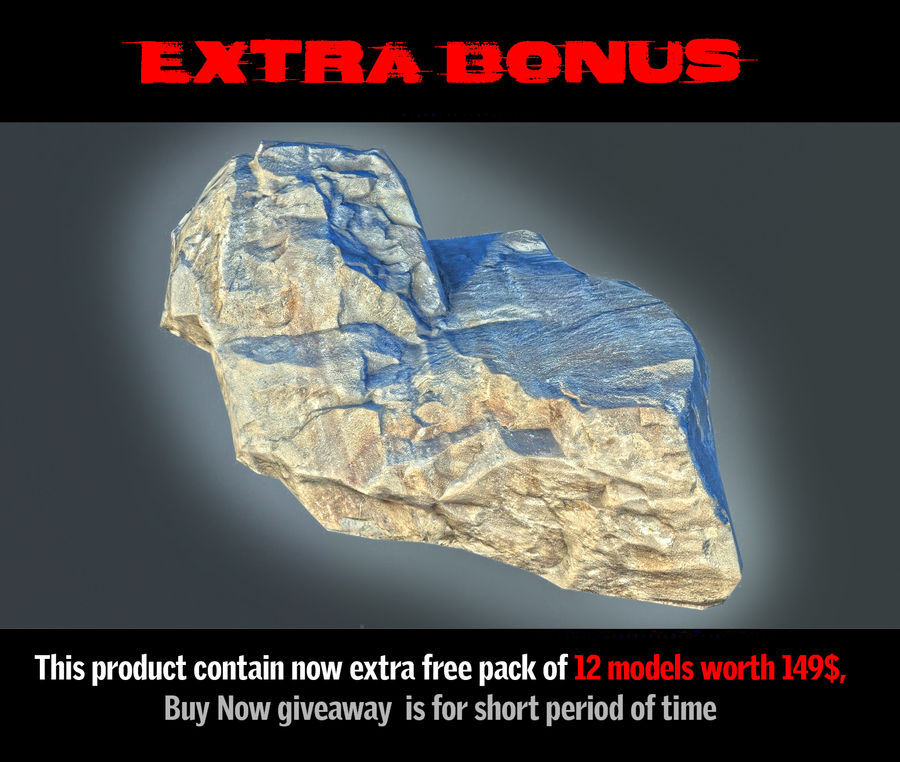 Rock mountains  Ground 16K royalty-free 3d model - Preview no. 11