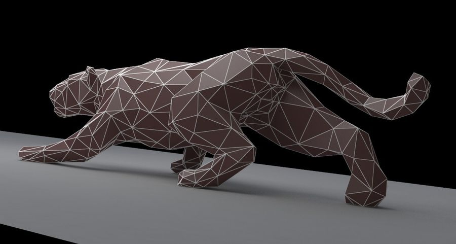Leopard low poly royalty-free 3d model - Preview no. 3