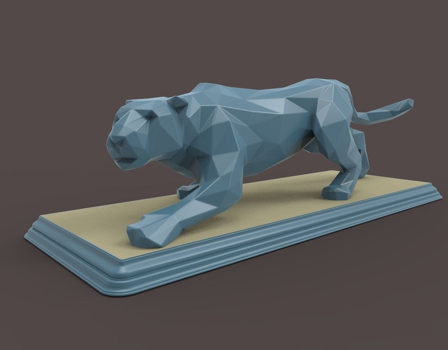 Leopard low poly royalty-free 3d model - Preview no. 7