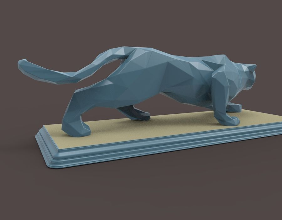 Leopard low poly royalty-free 3d model - Preview no. 8
