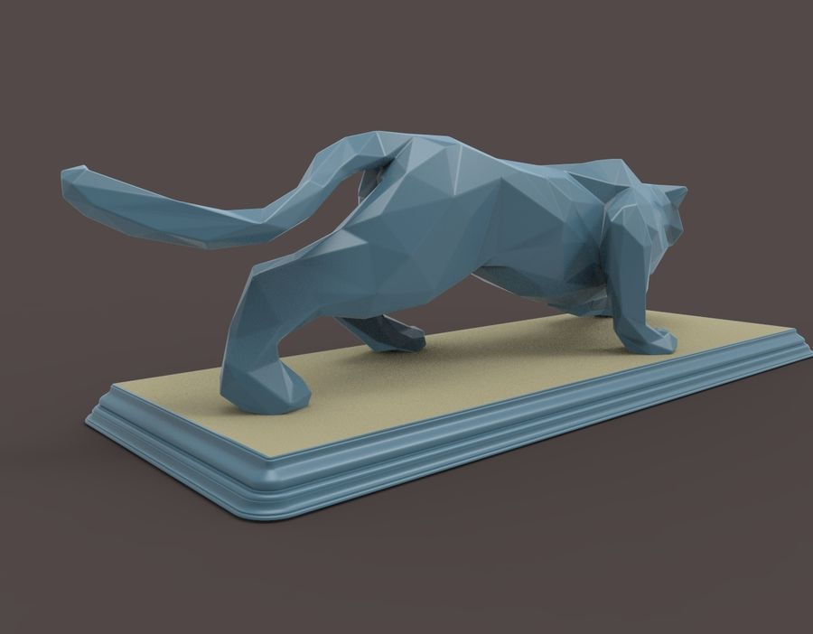 Leopard low poly royalty-free 3d model - Preview no. 6