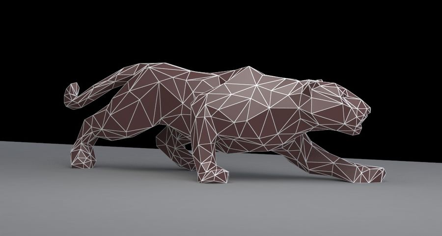 Leopard low poly royalty-free 3d model - Preview no. 5
