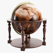 Wooden Old Globe 3d model