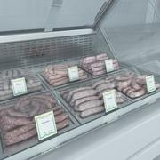 Refrigerated Showcase with sausages 2 3d model