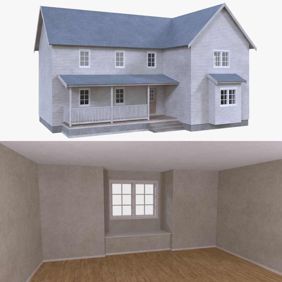 Maison trois avec intérieur complet modèle 3D $39 - .obj .fbx .dae ...