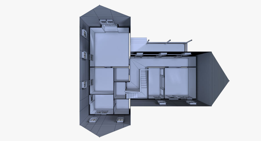 인테리어가 가득한 하우스 3 royalty-free 3d model - Preview no. 26
