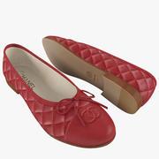 Chanel женские балетки красные 3d model