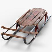 ビンテージ木製そり 3d model