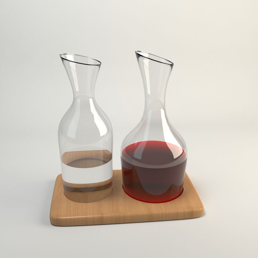 Conjunto de Jarra de Água e Vinho e Base de Carvalho 1.2L / 1.4L Transparente royalty-free 3d model - Preview no. 5