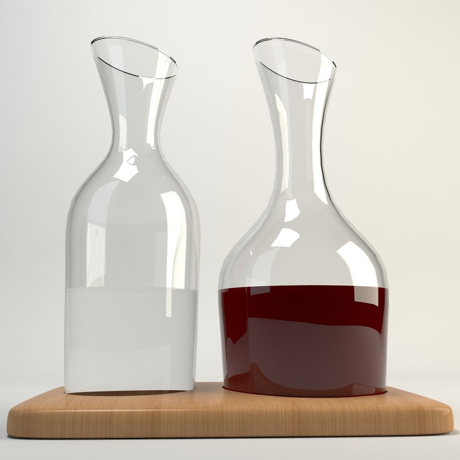 Set de jarras de agua y vino y base de roble 1.2L / 1.4L transparente royalty-free modelo 3d - Preview no. 1