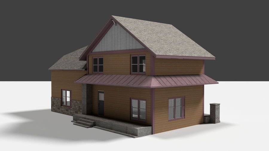 aktywa domu na przedmieściach royalty-free 3d model - Preview no. 6
