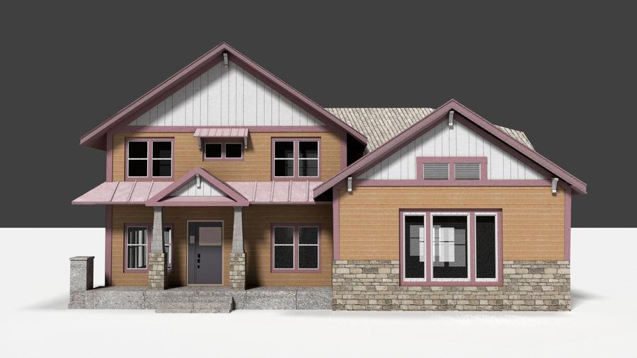 aktywa domu na przedmieściach royalty-free 3d model - Preview no. 1