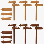 Zestaw drewniany wskaźnik drogi 3d model