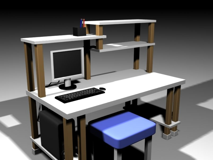 Desktop Table royalty-free 3d model - Preview no. 1
